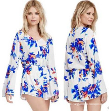 OEM Long Sleeve Playsuit Sexy Mulheres Romper e Ladies 100% Chiffon Jumpsuite