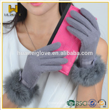 2015 Fashion Full Hand Touch Screen Wool Gloves for Women,High Quality Luxury Rabbit Cuff Wool Gloves for TouchScreen