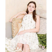 Fresh Flower Printed Sleeveless Pure White Women′s Dress