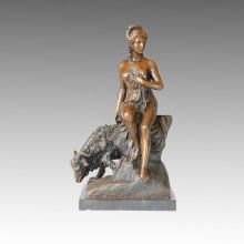 Klassische Bronze Skulptur Figur Schäferin Messing Statue TPE-085