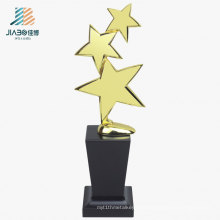 27.5*10cm Cheap Custom Three Star Gold Trophies Metal Trophy with Wooden Base