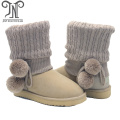 Cheap Womens Fashion Suede Wool Lined PomPom Boot