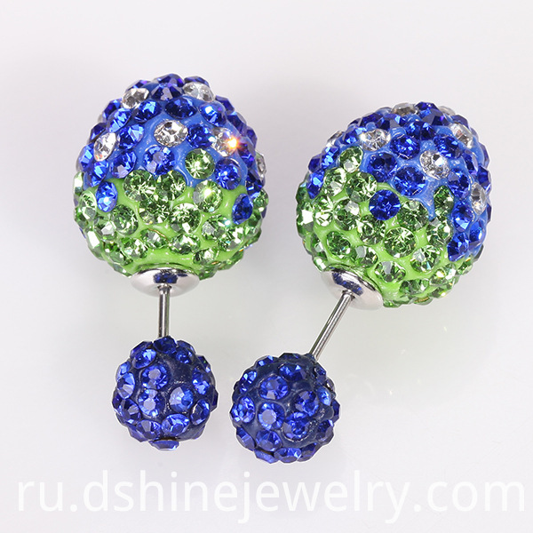 Czech Gem Shamballa Anti Allergy Earring