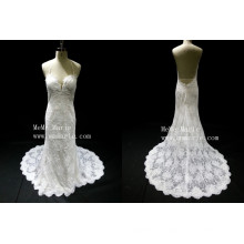 2016 white sexy wedding dress halter lace appliqued open back bridal dress long veil from China alibaba latest fashion dresses
