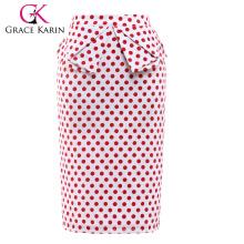 Grace Karin Occident Mujer Vintage Retro Algodón Polka Dots Hips-Wrapped Skirt CL008928-1
