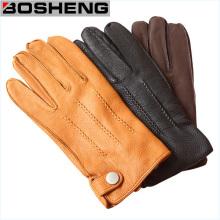Unisex invierno cálido PU doble capa de dedos completos guantes de cuero