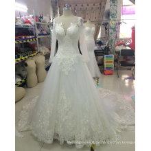 Luxuriöses hochwertiges langes Hülsen-Spitze-Hochzeits-Kleid