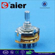 Interruptor rotativo Daier de retorno por mola de 4 posições