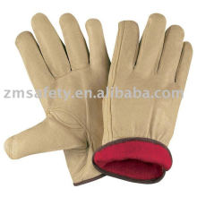 Yellow cow grain leather Winter gloves