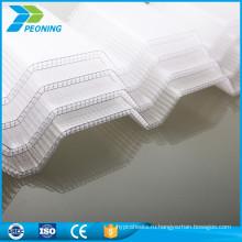 Устойчивый к царапинам 3мм лоус поликарбонат рифленый лист крыши волны