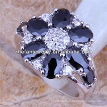 Mode Ring Erkenntnisse schwarzen Diamanten Ring Blume geformt Verlobungsringe