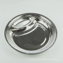 Estilo europeo 10 pulgadas redondo dividido plato de comida de la cena de acero inoxidable