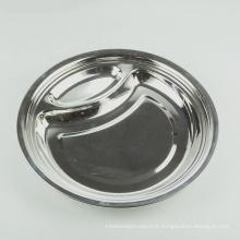 Assiette en acier inoxydable divisée ronde en acier inoxydable de style européen 10 pouces