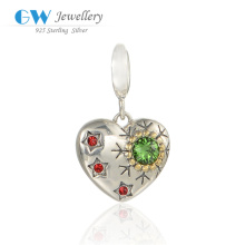 Costume Jewelry Zircon Wholesale Charms, Custom Design Charms, Sterling Silver Bracelet Heart Charm