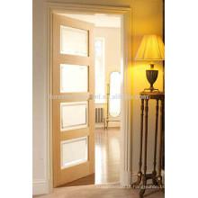 Projeto da porta de vidro de madeira do estilo do abanador do carvalho