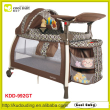 Manufacturer Cool-Baby Deluxe Aluminum Baby Playpen Double Layer with Mattress, Canopy with Toys, 3 Layer Storage Shelf