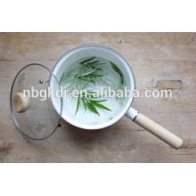 custom enamel coating pot of single timber handle