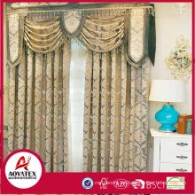 100% poliéster últimas elegantes flocado cortinas para la sala de estar