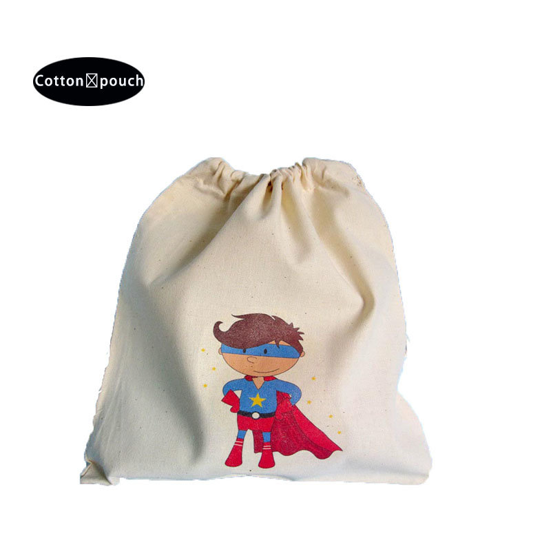 reusable natural cotton fabric drawstring bag