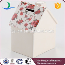 Wholesale house shape money box ,ceramic coin bank