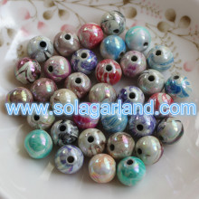 8-20MM Acrylic Plastic Round AB Swirl Gumball Beads Charms