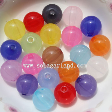 Cheap Jelly Colors Acrylic Jelly Round Smooth Beads Charm