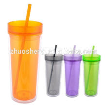 Insulated tumbler with screw-on lid and straw BPA free