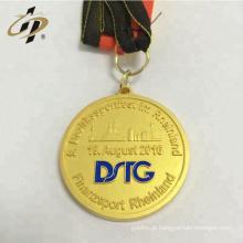 Shuanghua logotipo personalizado liga de zinco de ouro lasca de bronze medalhas com fita