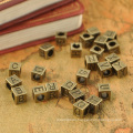 New Arrival Alloy Silver alphabet cube beads