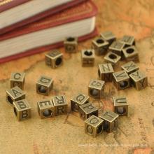 Grânulos de cubo de alfabeto de prata nova chegada de liga