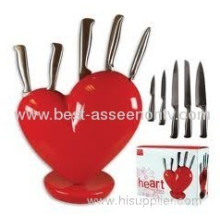5pcs Hollow Handle Heart Knife Block Red As Seen On Tv