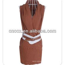 12STC0708 deep v-neck vestido de camisola meninas sexy