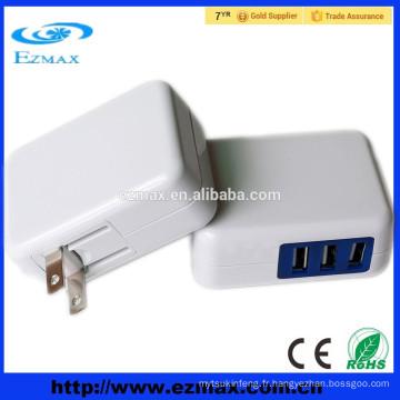 Dongguan chargeur de téléphone portable USB adaptateur de téléphone mobile téléphone mobile chargeur mural avec port unique, port double 3 ports 4 ports 6 ports