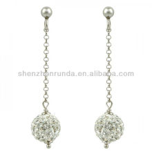 Großhandel Silber weiß Kristall Schneeball Tropfen Ohrringe für Mädchen Schmuck Hersteller Hersteller Importeur