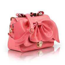 Beautiful Pink Pleated Small Pu Tote Bag For Women With Bow , Adjustable Shoulder Strap