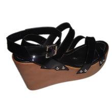 Fashion Comfortable 9cm Heels Black Pu Ladies Wooden Clog Sandals