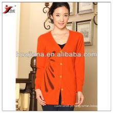 Casaco de pescoço V nas mulheres de cashmere tricô