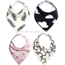 Gift Set For Girls, 4 Pack Natural Cotton With Snaps The Beverly Hills Set Baby Bandana Drool Bibs