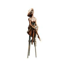 Женский Домашний Декор бронзовая скульптура Hat Леди Малый Латунь статуя ТПЭ-472