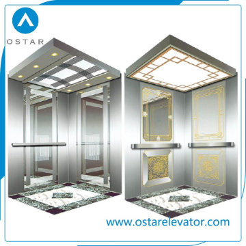 Cabina elevadora Gloden Mirror Etching para elevador de pasajeros (OS41)