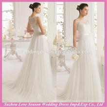 WD9113 2015 latest design made in China A-line ruched tulle skirt closed back buttons zipper back lace korea wedding dress
