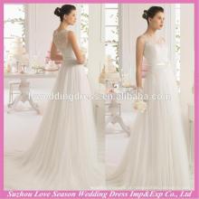 WD9113 2015 design mais recente fabricado na China A linha de saia de tua ruched fechada de volta botões zíper de volta renda vestido de noiva Coreia