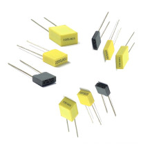 Mini Yellow and Gray Box 5mm Metallized Polyester Film Capacitor Tmcf07