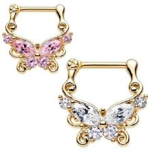 Gold Plated Butterfly Septum Clicker Nose Ring