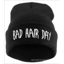 Unisex tricotado cabelo ruim dia punk bordado inverno chapéu morno gorro (hw146)