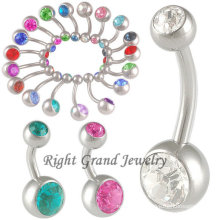 Fancy Double CZ Stone Anime Belly Button Ring