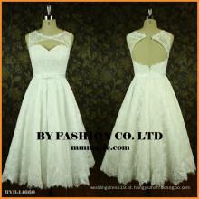 2017 Padrões de vestidos de casamento com comprimento de chá BYB-14660