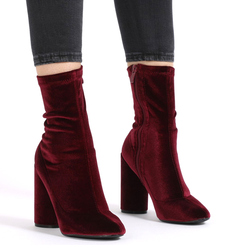 Womens Leather mid calf Chunky Heel Long Boots