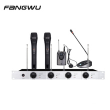 Wholesale 4 Channels Wireless Lavalier Mic Microphone With A Lapel