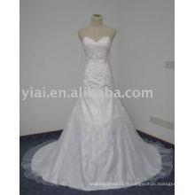 WD7601 Sweetheart Bling Trumpet Designs de broderie blanc simple pour la robe de mariée